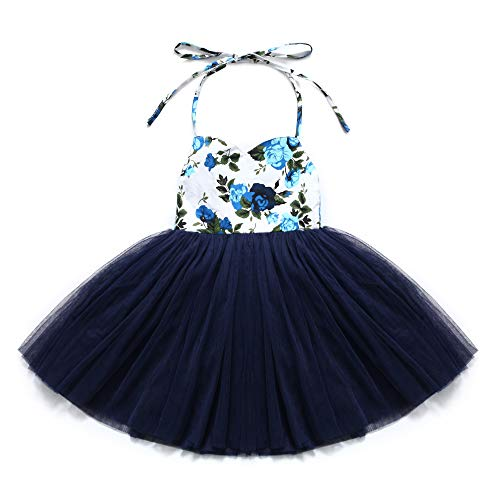 Flofallzique Toddler Girls Dress Vintage Floral Tutu Christening Birthday Party Baby Girls Clothes(3, Navy Blue)