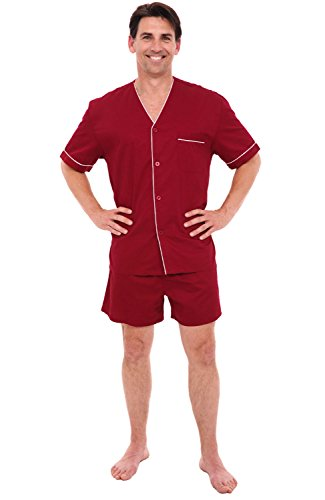 (Alexander Del Rossa Mens Cotton Pajamas, Short V-Neck Woven Pj Set, Large Burgundy (A0698BRGLG))