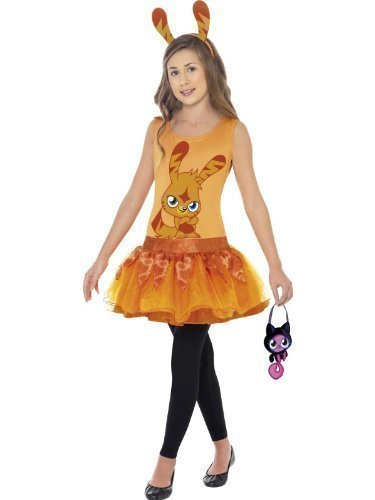 Girls Moshi Monsters with Bag Pink Poppet Red Diavlo Orange Katsuma Halloween Book Day Fancy Dress Costume Outfit 4-12 Years (10-12 Years -