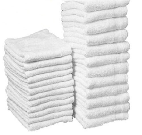 GHP 300-Pcs 12''x12'' White Cotton Terry Shop Rag Wiping Cleaning Janitorial Towels