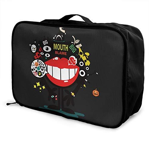 X-K2 Multifunctional Fashion Travel Duffel Storage Bag Water Resistant Big Mouth Blame Happy Halloween Lightweight Large Capacity Portable Luggage Bag]()