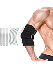 Elbow Brace for Adjustable, Elbow Support with 6 Removable Spring Stabilisers, Golfers Tennis Elbow Brace Strap, Provides Support