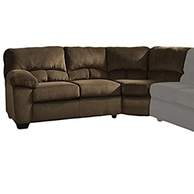 Ashley Furniture Signature Design - Dailey Contemporary Left Arm Facing Loveseat with Half Wedge - Sectional Component Only - Chocolate Brown