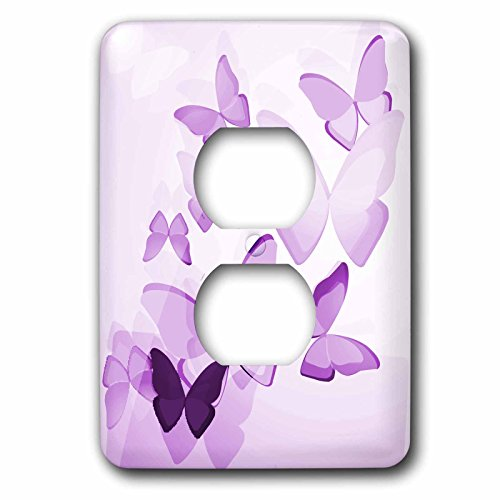 3dRose LLC lsp_101505_6 Pretty Transparent Purple Butterflies 2 Plug Outlet Cover
