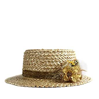 Sun Hat for men and women Ladies Flat Round Head Hat Fashion Sun Hat Summer Beach Solid Color Flower Feather Decoration Hat (Color : Gold, Size : 56-58CM)