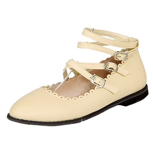 Round Shoes Pumps Heels Buckle Women's Solid Toe WeenFashion Closed Low PU Beige Ow7qx1fX