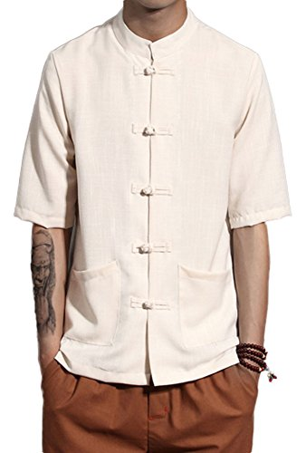 Plaid&Plain Men's Short Sleeve Linen Shirt Madarian Collar Shirt Tai Chi Clothing Beige L