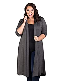 SWAK Womens Plus Size Long Sleeve Top Casual Parker Long Cardigan