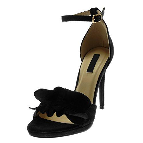 Angkorly Zapatillas Moda Sandalias Tacón escarpín Stiletto Plataforma Correa de Tobillo Mujer con Volante Tanga Tacón de Aguja Alto 11 cm Negro