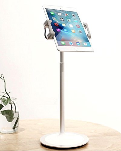 idee PTS02W Height & Angle Adjustable Commercial Graded Aluminum Table Stand for iPads Tablets and Smart Phones, 360 Degree Rotate Mount Designed for Store POS, Office & Home Desktop and ()