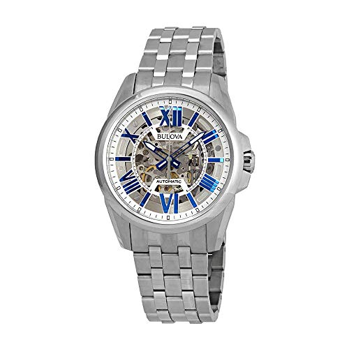 Bulova Men's Mechanical-Hand-Wind Watch with Stainless-Steel Strap, Silver, 22 (Model: 96A187)
