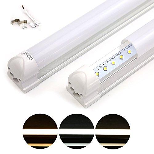 OUBO Leuchtstoffröhre 120CM LED Lichtleiste T8 Tube 18W 3000K Warmweiß Leuchtstofflampe mit Fassung Unterbau [Milchweiße Decke-Warmweiß-120CM]