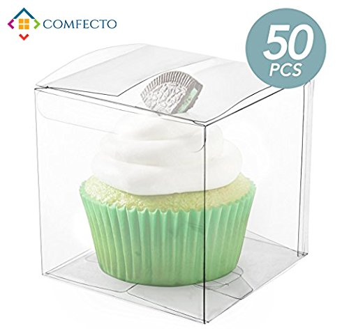 COMFECTO 50 Pcs 4x4x4 Inch Clear Crystal Plastic Tuck Top PVC Boxes, Excellent for Cupcake Chocolate Wedding Favor Party Present Display, Effortless Assembly Easy To Fold Boxes with Predefined (Windowed Cupcake Box)