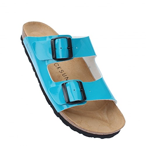 Backsun - Tongs / Sandales - Bali Homme Bleu Vernis Semelle Noire - Bleu