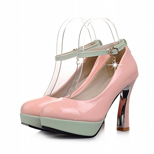Carol Scarpe Eleganza Donna Polsini Assortiti Colori Fibbia Strass Dolcezza Chic Piattaforma Tacco Alto Mary Janes Scarpe Rosa