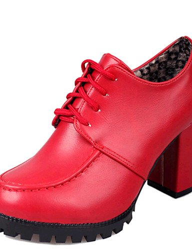 ZQ hug Zapatos de mujer-Tacón Robusto-Tacones-Tacones-Casual-Semicuero-Negro / Rojo , red-us8 / eu39 / uk6 / cn39 , red-us8 / eu39 / uk6 / cn39 black-us6.5-7 / eu37 / uk4.5-5 / cn37