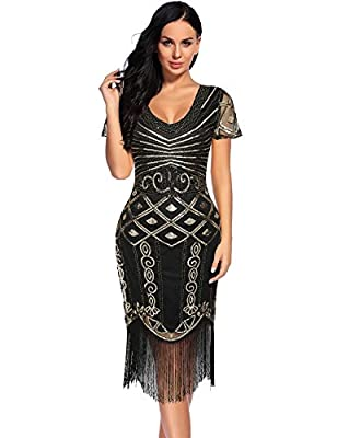 Women's Gatsby Dress 1920s Beaded Fringed Inspired Short Sleeve Cocktail Flapper Dress