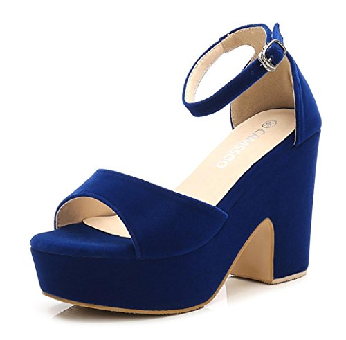 Sandal Woman Color Blue (CAMSSOO Women's Solid Color Open Toe Ankle Strap High Heels Wedge Sandals Block Heel Plarform Shoes Blue Velveteen US7 EUR37)