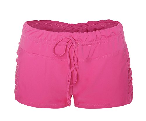 Roses Boyshort (ReliBeauty Womens Ruched Side Boy Short Swim Bottoms (Small, Rose Red))