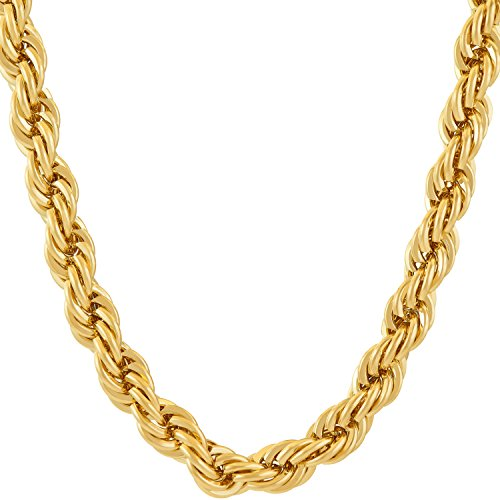 Lifetime Jewelry Rope Chain 7MM, 24K Diamond Cut Fashion Jewelry Necklaces in Yellow or White Gold Over Semi Precious Metals, Hip Hop or Classic, Comes with Box or Pouch, 24 Inches ()