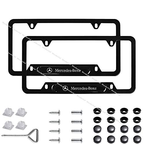 Wonderchef 2Pack Stainless Steel License Frame with for Mercedes-Benz,with Screw Caps Cover Set-Black (Mercedes-Benz)