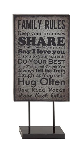 Deco 79 Metal Family Rules Table Plaque, 12 by 29-Inch, Black