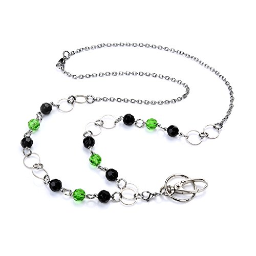 (LUXIANDA Fashion and Charm Women's Black and Green Beaded Fashion Lanyard Necklace,ID Badge and Key Holder Suitable for Nurse, Teacher ID with Stainless Steel Chain )