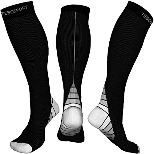 Mid Calf Muscle Leg Support - Long Sleeve 20-30 mmHg - Running Crossfit Football Basketball Travel Gym Athletic Teds Post Partum - Thigh Opaque Knee High Stockings Compression Socks for Men Women L XL for $<!--$12.61-->