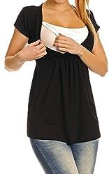 Zeta Ville - Women's Maternity Nursing Wrap Front T-shirt Top Shirt S-3XL - 373c (Black, US 6, S)