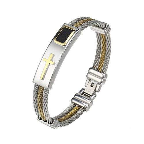Chelsea Men 3 Row Wire Chain Bracelet Men Stainless Steel Cross Bracelet Best Giftsilver and Gold