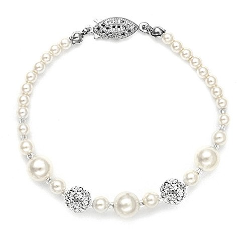 Jewelry Rhinestone Pearl Wedding - Mariell Swarovski Rhinestone Crystal Pearl Wedding Tennis Bracelet for Women, Jewelry for Brides and Prom