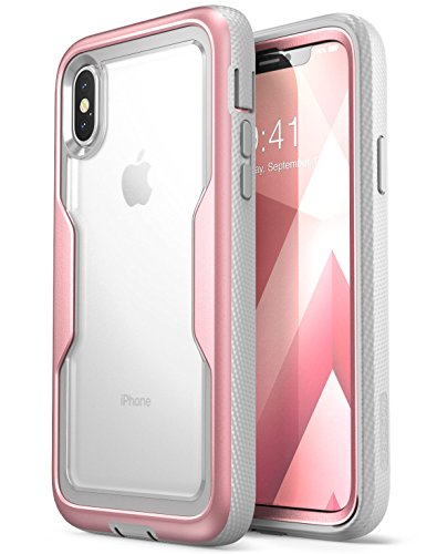i-Blason iPhone X Case, iPhone Xs Case [Heavy Duty Protection] [Clear Back] [Magma Series] Shock Reduction/Full Body Bumper Case with Built-in Screen Protector for Apple iPhone X/iPhone Xs (Rosegold)