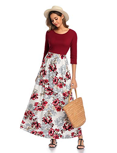DUNEA Women's Maxi Dress Floral Printed Autumn 3/4 Sleeve Casual Tunic Long Maxi Dress (Medium, Wine Red02)