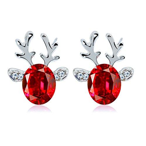 Diamond Pearl Double Side Round Ball Stud Earrings,STAR-TOP Vintage Wings Christmas Reindeer Earring