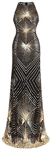 Angel-fashions Women's Sequins Art Deco Halter Sweep Train Long Evening Gown Medium Golden