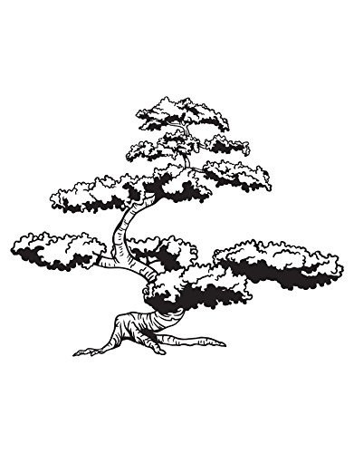 (Stickerbrand Asian Japanese Bonsai Tree Wall Decal Decor. Great Addition to an Asian Theme Room. (6ft Tall) 72in Tall x 92in Wide. #344A You Pick the Color. Karate Kid's Favorite)