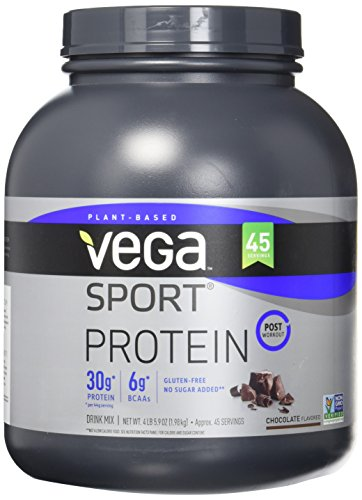 Vega Sport Protein Powder Chocolate (45 Servings, 4.36 lb) - Plant-Based Vegan Protein Powder, BCAAs, Amino Acid, tart cherry, Non Dairy, Gluten Free, Non GMO (Packaging May Vary)