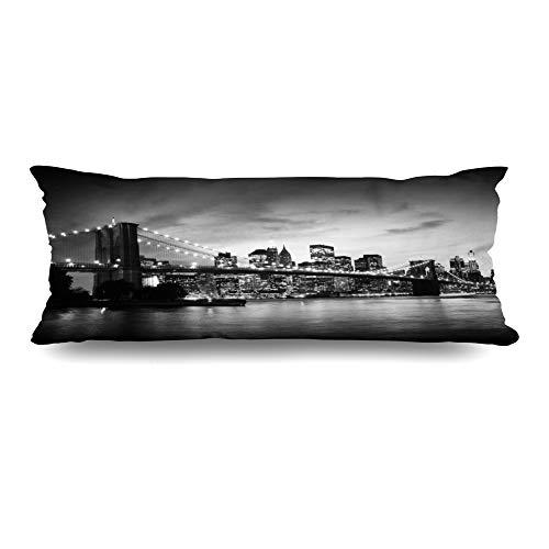 Ahawoso Zippered Body Pillow Cover 20x54 Inches Night Brooklyn Bridge Manhattan Sunset New America York Skyline Famous City White Black NYC Cityscape Decorative Cushion Case Home Decor Pillowcase (Nyc Decorative Pillows)