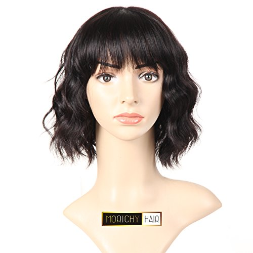 MORICHY Hair Short Wigs for Black Women Human Hair Wigs with Bangs None Lace Front Wig Unprocessed Brazilian Body Wave Wig Natural Color (10inch body wave wig) (Human Black Wigs Hair)