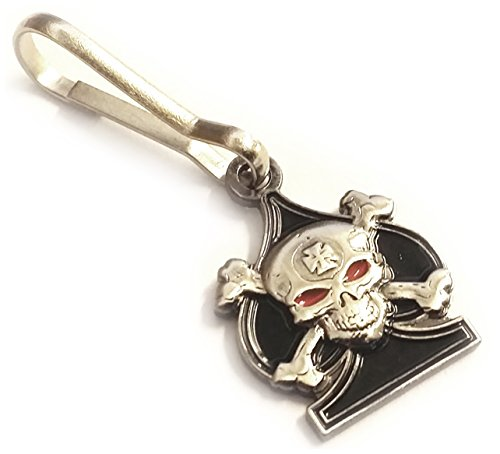 Ace of Spades Death Card Skull & Crossbones Iron Cross Sniper Backpack Jacket ZIPPER PULL CLIP
