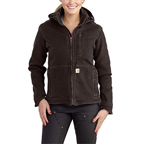 Carhartt Women's Full Swing Caldwell Stretch Sandstone Jacket, Dark Brown/Shadow, X-Large -