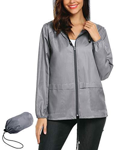 Women's Lightweight Raincoat,Waterproof Active Outdoor Travel Hiking Rain Jacket Lightweight Travel Trench Raincoat M