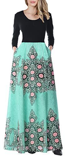 Charming Tunic Dress - BOCOTUBE Women's Party Dresses Floral Printed Tunic Tank Long Sleeve Maxi Evening Dress