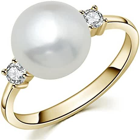 YAN & LEI Sterling Silver CZ 8mm Freshwater Cultured Pearl Solitaire Ring Color Golden