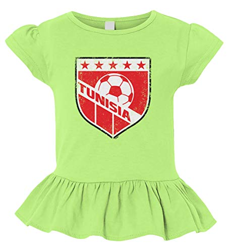 Tcombo Tunisia Soccer - Distressed Badge Toddler/Youth Ruffle Jersey Tee (Lime Green, X-Small (Youth))
