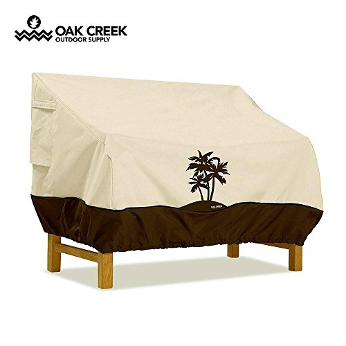 Oak Creek Premium Outdoor Furniture Cover | Patio Bench Cover with Air Vents, Click-Close Straps, Elastic Hem Cord | Made of Heavy Duty Waterproof Fabric with PVC Coating | Palm Tree Design by Oak Creek Outdoor Supply