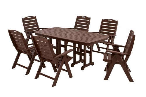 POLYWOOD PWS125-1-MA Nautical 7-Piece Dining Set, Mahogany