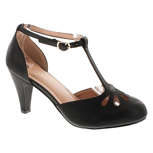 Chase & Chloe Kimmy-36 Women's Teardrop Cut Out T-Strap Mid Heel Dress Pumps (9, Black PU)