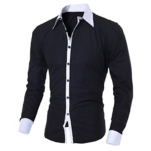 Birdfly Men Dress Shirts Slim Fit Collar Stays Long Sleeve Casual Dress Shirt Tops (L, Black) from Birdfly