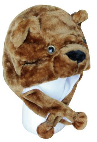 Choose From Over 25 Animals! - Plush Faux Fur Animal Critter Hat Cap - Soft Warm Winter Headwear - Short with Ear Poms and Flaps & Long with Scarf and Mittens Available (Short Brown Bear) (Brown Bear Hat)